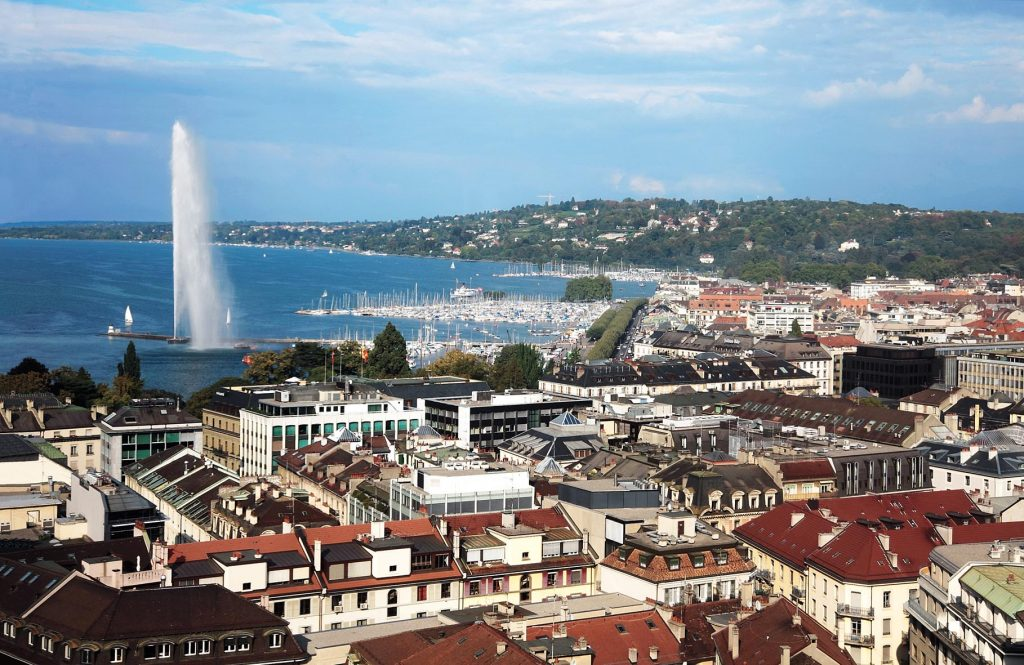 panoramic view of Geneva, Switzerland; Shutterstock ID 49077808