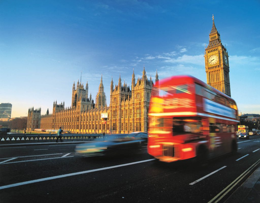 England, London, Big Ben, House of Parliament and double-decker bus.