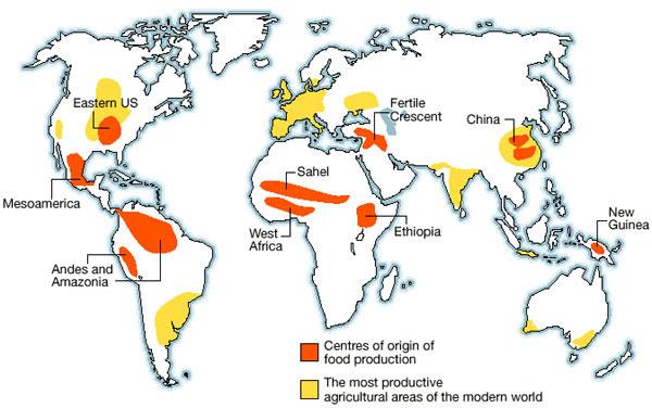 世界各地的農業起源中心。(圖片來源)