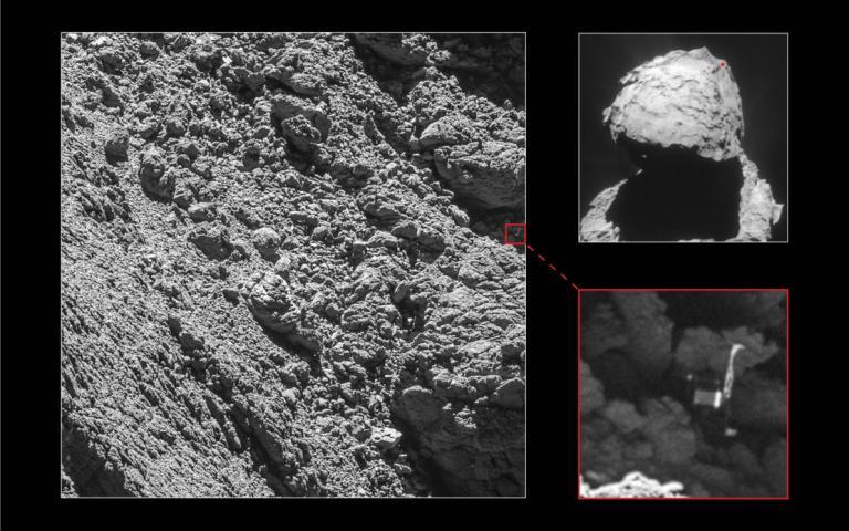 在羅賽塔號畫下句點前的最後一個月,其高解析度相機找到了失蹤的登陸器──菲萊號,它就卡在67P/丘留莫夫-格拉西緬科彗星上一個幽暗裂縫中。PHOTOGRAPH BY ESA