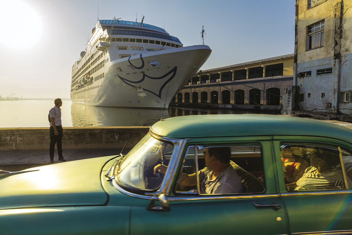 The Adonia, the first US cruise ship to sail from the USA to Cuba in decades, is docked at the Havana, Cuba port.