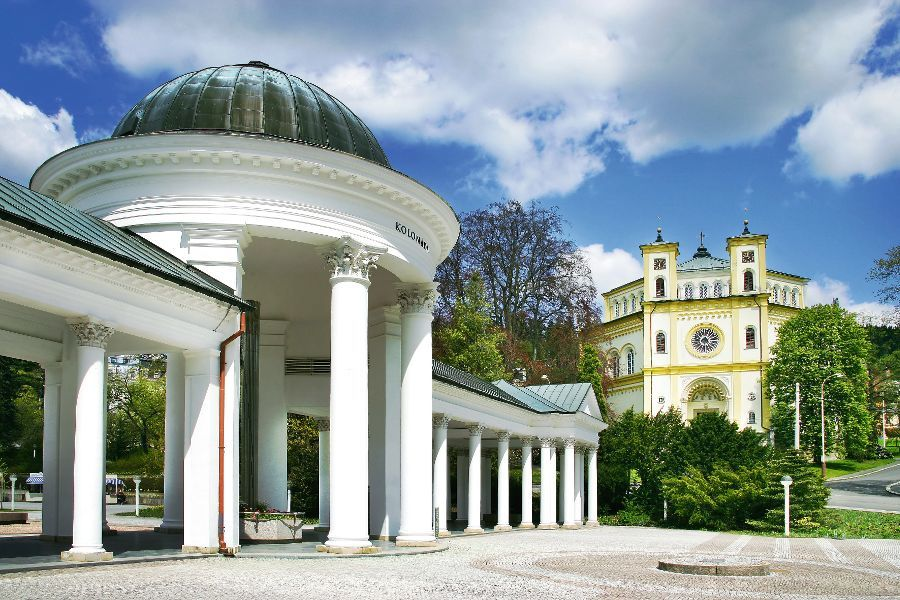 MARIANSKE LAZNE, CZECH REPUBLIC - MAY 19, 2012: Carolina spring colonnade in historic town centre. Spa nominated for registration in UNESCO list.