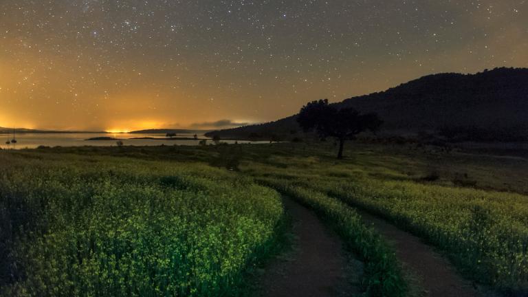 在葡萄牙阿爾克瓦暗空保護區(Alqueva Dark Sky Reserve)裡,天上的繁星和周遭的燈光照亮了阿爾克瓦湖(Lake Alqueva)周遭的原野。PHOTOGRAPH BY BABAK TAFRESHI, TWAN/NATIONAL GEOGRAPHIC