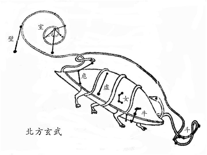 斗、牛、女、虛、危、室、壁 (北方玄武),圖取自高魯的《星象統箋》。