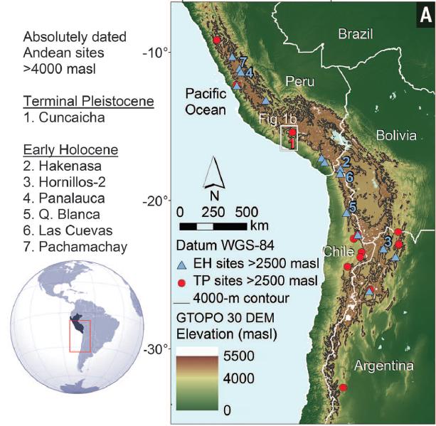 分佈於安地斯地區,幾個早期高海拔遺址的位置。(圖片來源)