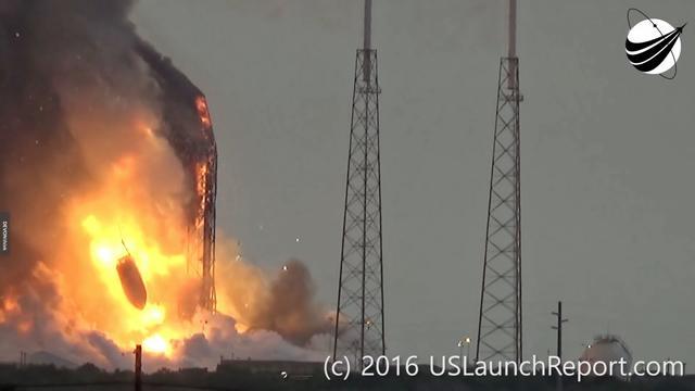 2016年9月1日,獵鷹9號火箭在燃料加註時發生事故,星箭全部炸毀。圖片來源:USLaunchReport.com