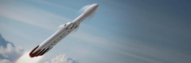 SpaceX計劃用重型獵鷹火箭發射載人天龍號太空船,在2018年結束之前實現載人月球繞飛之旅。圖片來源:SpaceX
