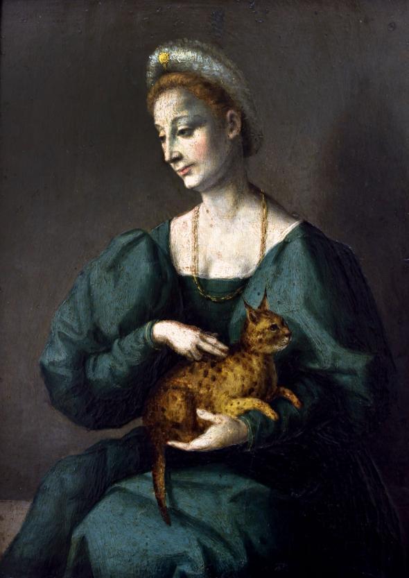 這是一幅義大利文藝復興時期的畫作,畫中的女性抱著一隻被描述為「豹貓」的貓兒。/ILLUSTRATION BY FRANCESCO D'UBERTINO VERDI; PHOTOGRAPH BY PETER HORREE, ALAMY