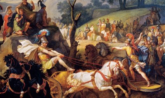 畫中坐在雙輪馬戰車的阿基里斯(Achilles)是《伊利亞德》中最著名的人物。