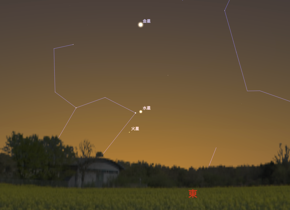 9/10 軒轅十四合水星,水星左下的亮星就是獅子座的軒轅十四。(Stellarium軟體製作)