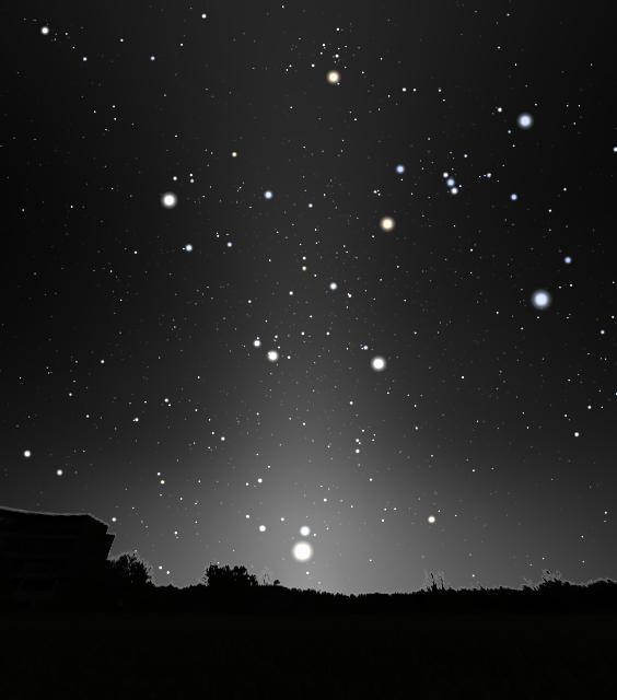 秋分清晨東方所看見的黃道光。(Stellarium軟體製作)