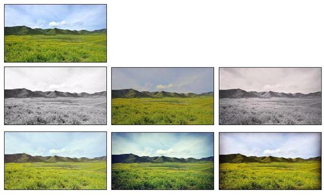第一行是原圖;第二行是憂鬱症參與者最喜歡用的三款濾鏡,按排名從左向右依次是Inkwell、Crema、Willow;第三行是對照組最喜歡用的三款濾鏡,按排名從左向右依次是Valencia、X-Pro II、Hefe。