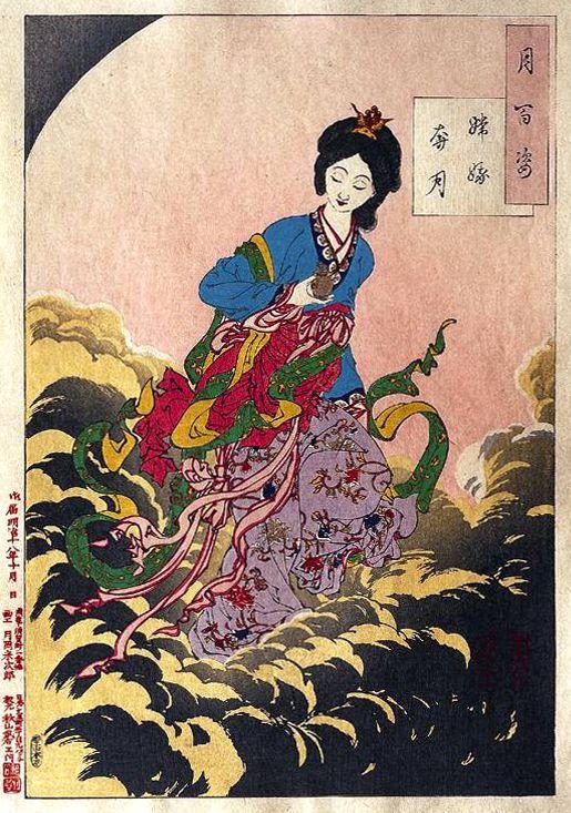 《月百姿》中所收錄的《嫦娥奔月》,由日本著名畫家月岡芳年編繪。/Yoshitoshi