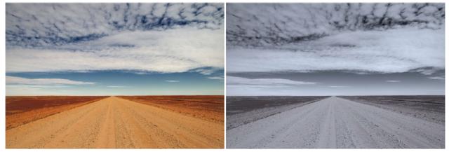 憂鬱症患者更喜歡發佈如右側這樣的照片;與左側的圖相比,右側圖色調更高(偏藍),飽和度更低(偏灰),明度更小(偏暗)。