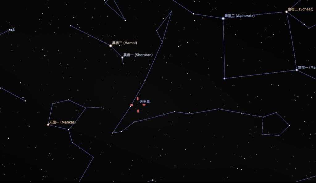 今年天王星衝的時候位在雙魚座。(Stellarium軟體製作)