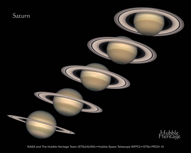 哈伯太空望遠鏡在不同時間拍攝的土星,不同時間觀測到的土星環傾角也不一樣,圖片來源NASA