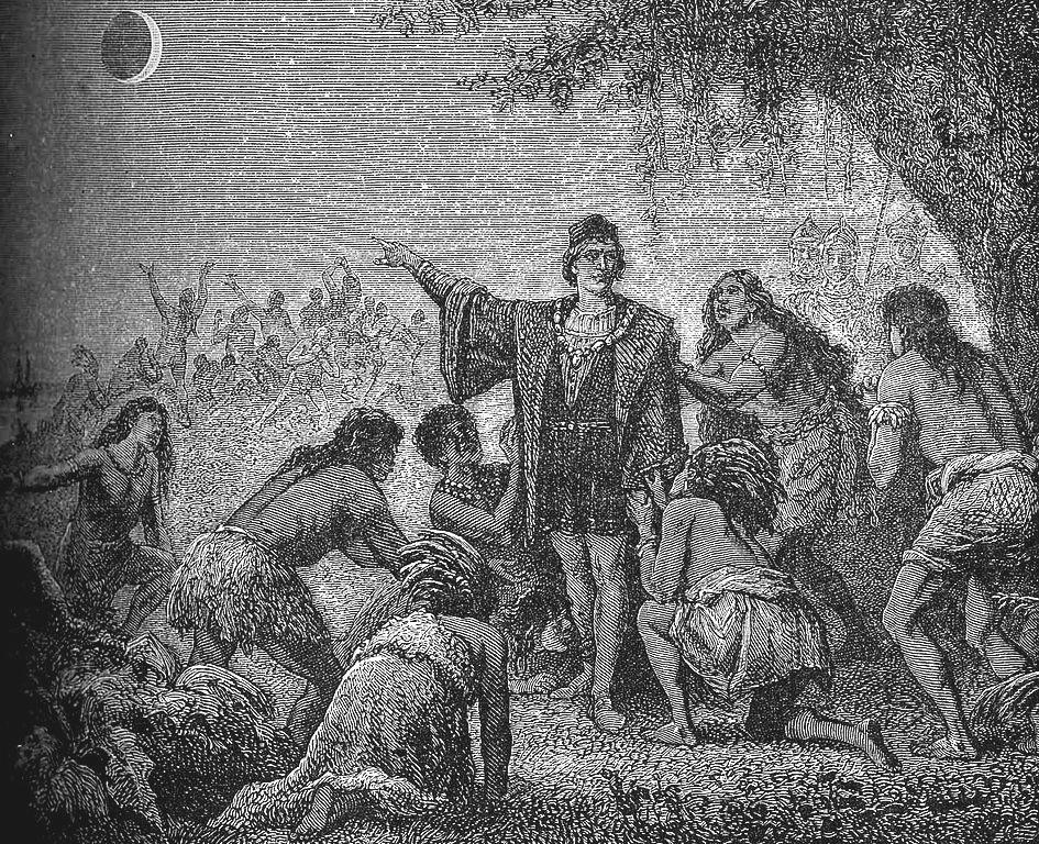 哥倫布讓牙買加的原住名以為神生氣了,所以讓月亮變成血紅色。Author: Camille Flammarion